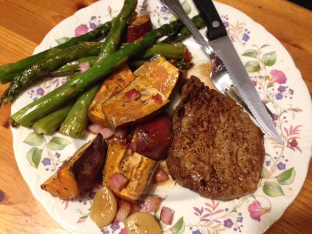 Zoete aardappel met groene asperges 2