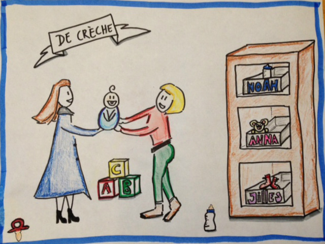 De crèche - icoon - kinderopvang - tekening