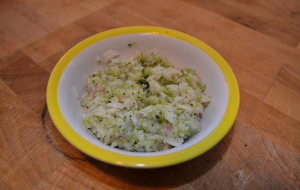 Rijst met broccoli en ham