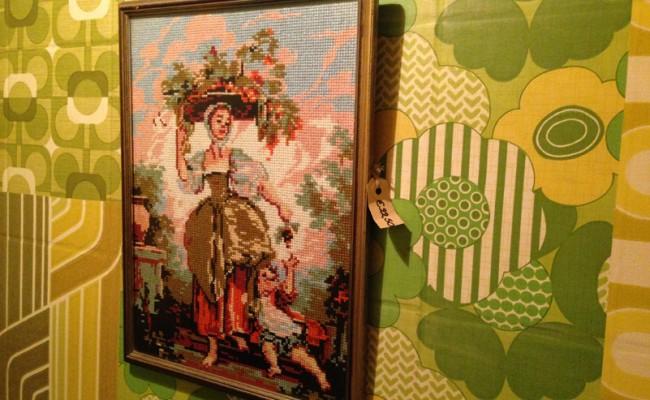 Geborduurd schilderijtje Restaurant Te koop Utrecht Biltstraat 23