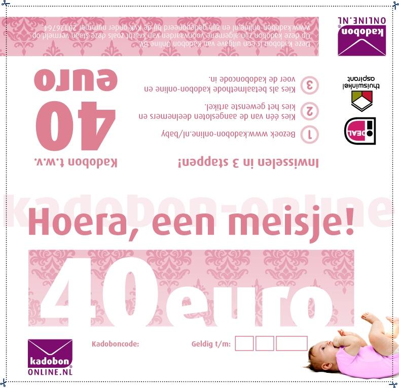 meisje baby-bon 40 euro persoonlijk kraamcadeau