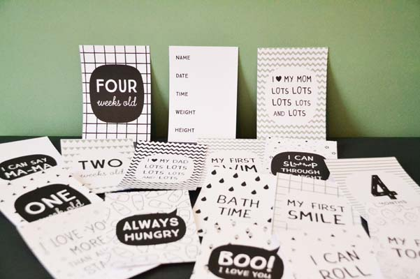 Milestone Cards Baby Zeeman goedkoop groen zwart
