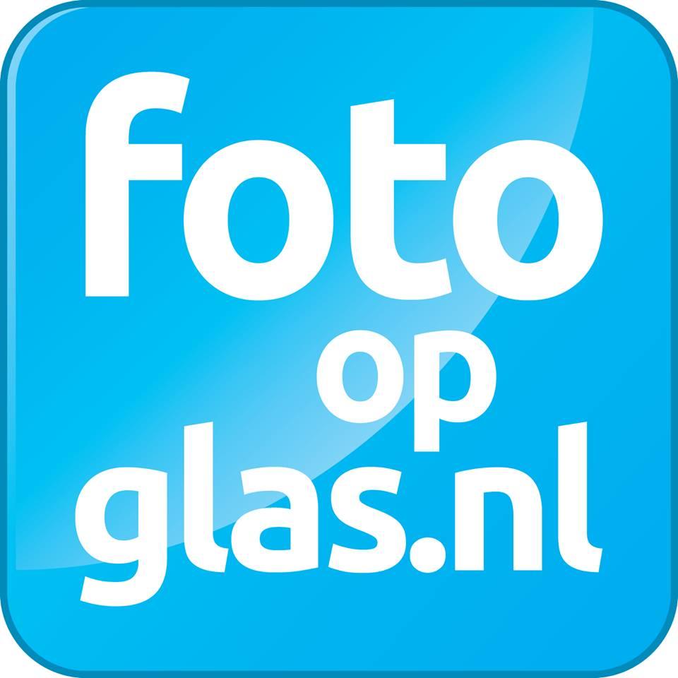 foto op glas logo blauw