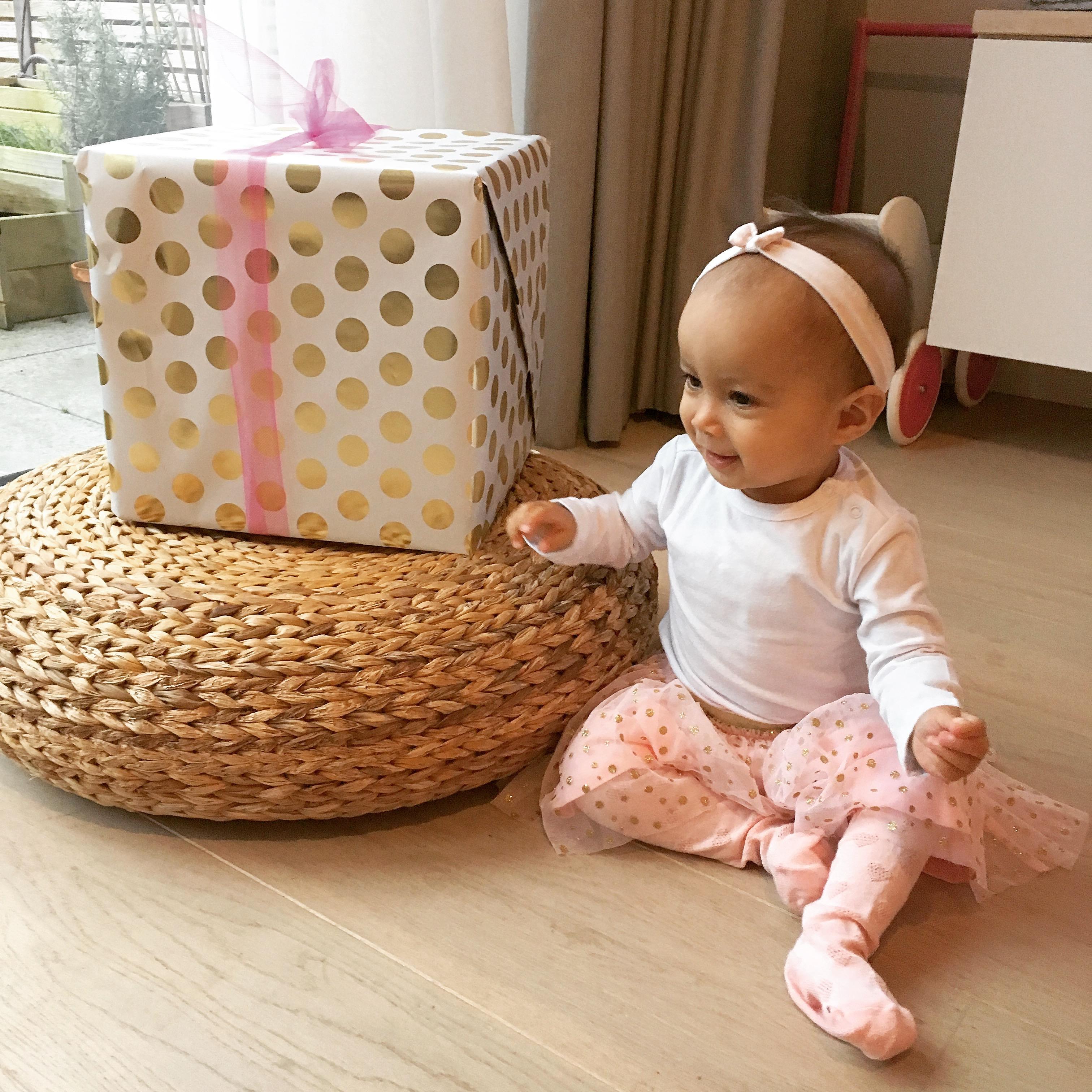 Eerste verjaardag kind baby meisje feest cadeau roze goud
